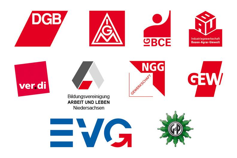 Logos des DGB, der Einzelgewerkschaften und der Bildungsvereinigung Arbeit und Leben